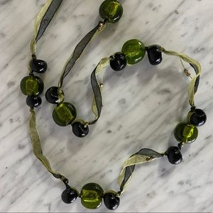 COS green candy venison glass ribbons necklace